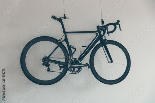 Sport Fahrrad An Der Wand Hipster Rennrad Cycling Bike Schwarz
