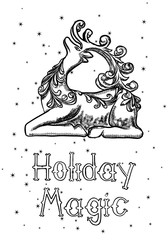 Merry Christmas and Happy New Year hand drawn greeting card. Modern and classic creative Christmas Holiday card. Hand drawn festive flyer. Vector.