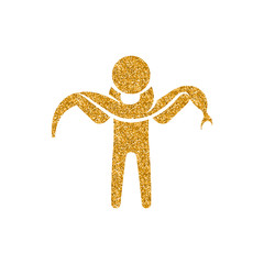 Man holding snake icon in gold glitter texture. Sparkle luxury style vector illustration.