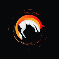 fox logo with splatter vector illustration download eps 10 file