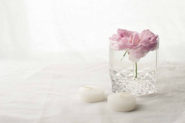 Pink rose flower in a vase and candles on white background