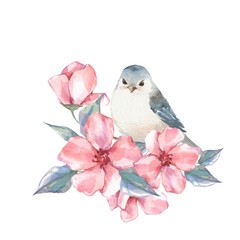 Bird and flowers. Watercolor painting