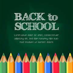 realistic Back to School on the chalkboard with pencil color Background Banner