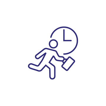 Haste line icon. Running businessman, clock, man. Time management concept. Can be used for topics like business, daily routine, schedule