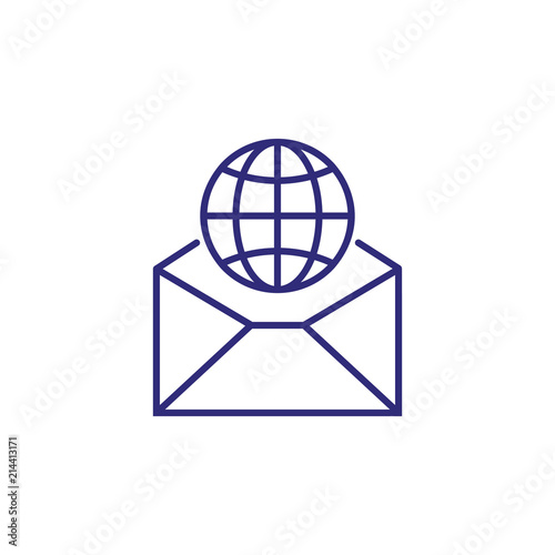 International mail line icon  Globe, world, envelope, letter