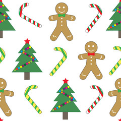 Seamless pattern, Christmas (new year). Christmas tree, gingerbread and sugar candy