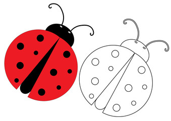 Ladybug. Coloring page, game for kids. Vector illustration.