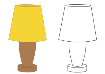 Lamp. Coloring page. Vector illustration.
