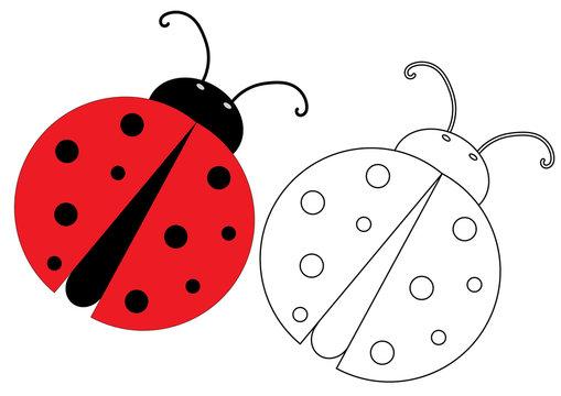 Ladybug. Coloring page, game for kids. Vector illustration.