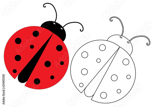 Ladybug. Coloring page, game for kids. Vector illustration ...