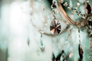 Crystal chandelier close-up. Glamour luxury background with copy space Wall mural