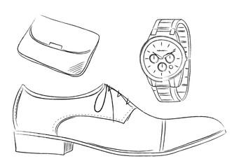 メンズビジネスアイテム 紳士靴 腕時計 イラスト