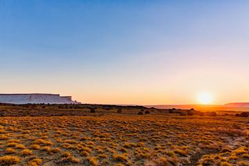 The wonderful Golden Hour with Round Rocks at sunset in Naizatau of Mangystau, Kazakhstan