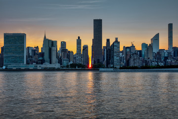 NYC skyline from LIC Gantry park. Manhattanhenge 2018