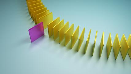 Ein pinkes Viereck tritt aus einer Reihe gelber Vierecke hervor. Symbol für anders sein und Ausstieg