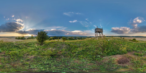 full seamless spherical panorama 360 by 180 degrees angle view on a high visibility mountain next to the old wooden fire tower in equirectangular projection, readyfor  VR AR virtual reality content