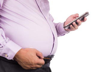 Men pinching unhealthy big tummy with visceral or subcutaneous fats