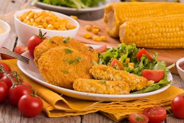 Corn burgers.