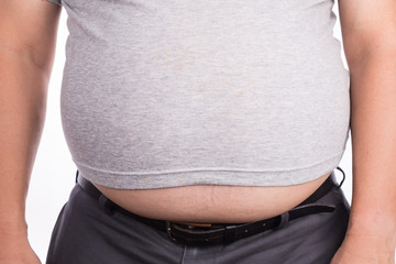 Close-up of man on t-shirt with protruded big belly
