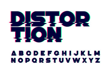 Trendy style distorted glitch typeface