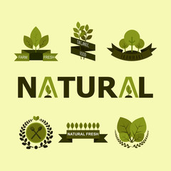 Nature banner and ecology icons.Vector illustration