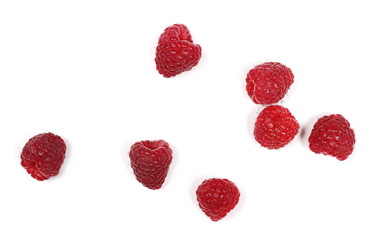 Raspberries isolated on white background and texture, top view