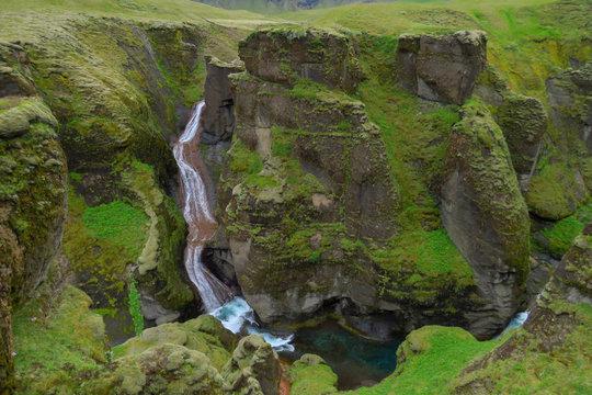 Waterfall at the end of Fjadrargljufur Canyon, Kirkjubæjarklaustur, Iceland