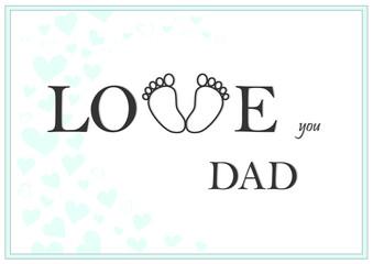 love you dad horizontal green greeting card vector illustration