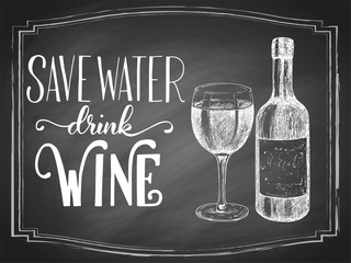 Save water drink beer hand lettering with beer vintage etching drawn sketch on black chalkboard background. Vector illustration.