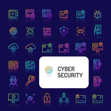 Cyber & Digital Security Gradient Line Icon Set (EPS 10)