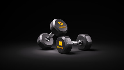 Two black rubber dumbbells on dark background 3d