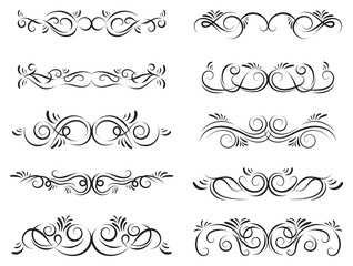 Calligraphic design elements. Dividers, borders and swirls. Set of curls and scrolls for wall decoration, books, cards and tattoos. Swirls Vector Illustration.