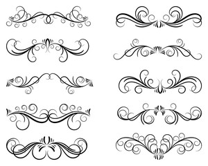 Calligraphic design elements. Dividers and borders. Set of curls and scrolls for wall decoration, books, cards and tattoos. Swirls Vector Illustration.