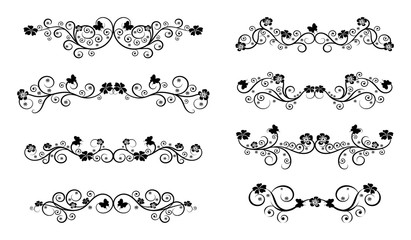 Floral vintage swirl set. Abstract black and white ornate curls and scrolls. Vector illustration with flowers and butterflies.