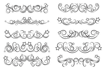 Set of curls and scrolls with stars. Fun decorative elements for frames. Elegant swirl vector illustration.