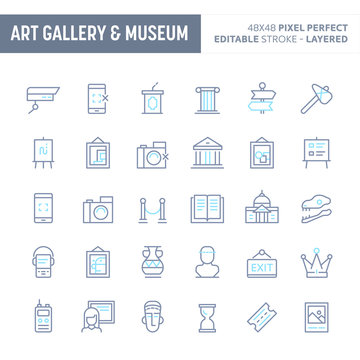 Art, Museum & Historical Gallery Minimal Vector Icon Set (EPS 10).