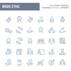 Work Ethic Minimal Vector Icon Set (EPS 10)
