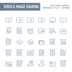 Video & Image Sharing Minimal Vector Icon Set (EPS 10)