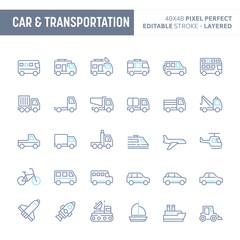 Car & Transportation Minimal Vector Icon Set (EPS 10)