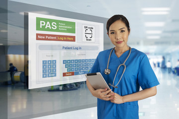 Wall Mural - Medical Information technology show self registration for patient on screen.