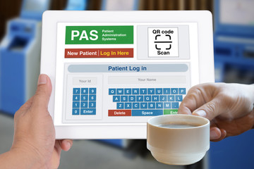 Wall Mural - Technology for patient registration on digital tablet.