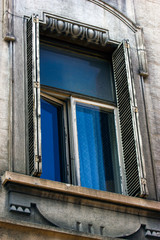 Old Tbilisi architecture, window and exterior decor in summer day