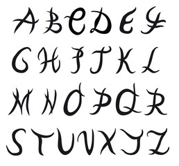 Hand drawn vector tribal style alphabet, on white background.