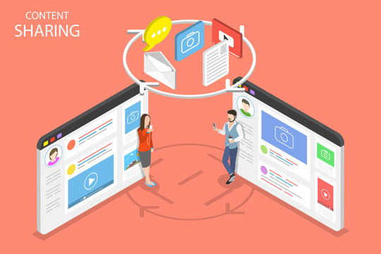 Flat isometric vector concept of content sharing, information exchange, social network.