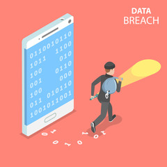 Flat isometric vector concept of data breach, confidential data stealing, cyber attack.