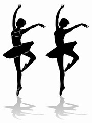 silhouette of a ballet dancer, vector draw