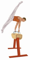 illustration of gymnast on the pommel horse, vector draw