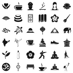 Yoga mat icons set. Simple style of 36 yoga mat vector icons for web isolated on white background
