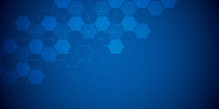 Abstract science and technology concept from hexagonal elements. Polygonal geometric design with hexagons pattern. Hi-tech digital background.