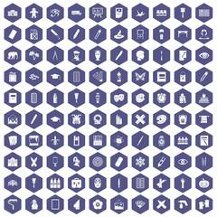 100 paint school icons set in purple hexagon isolated vector illustration